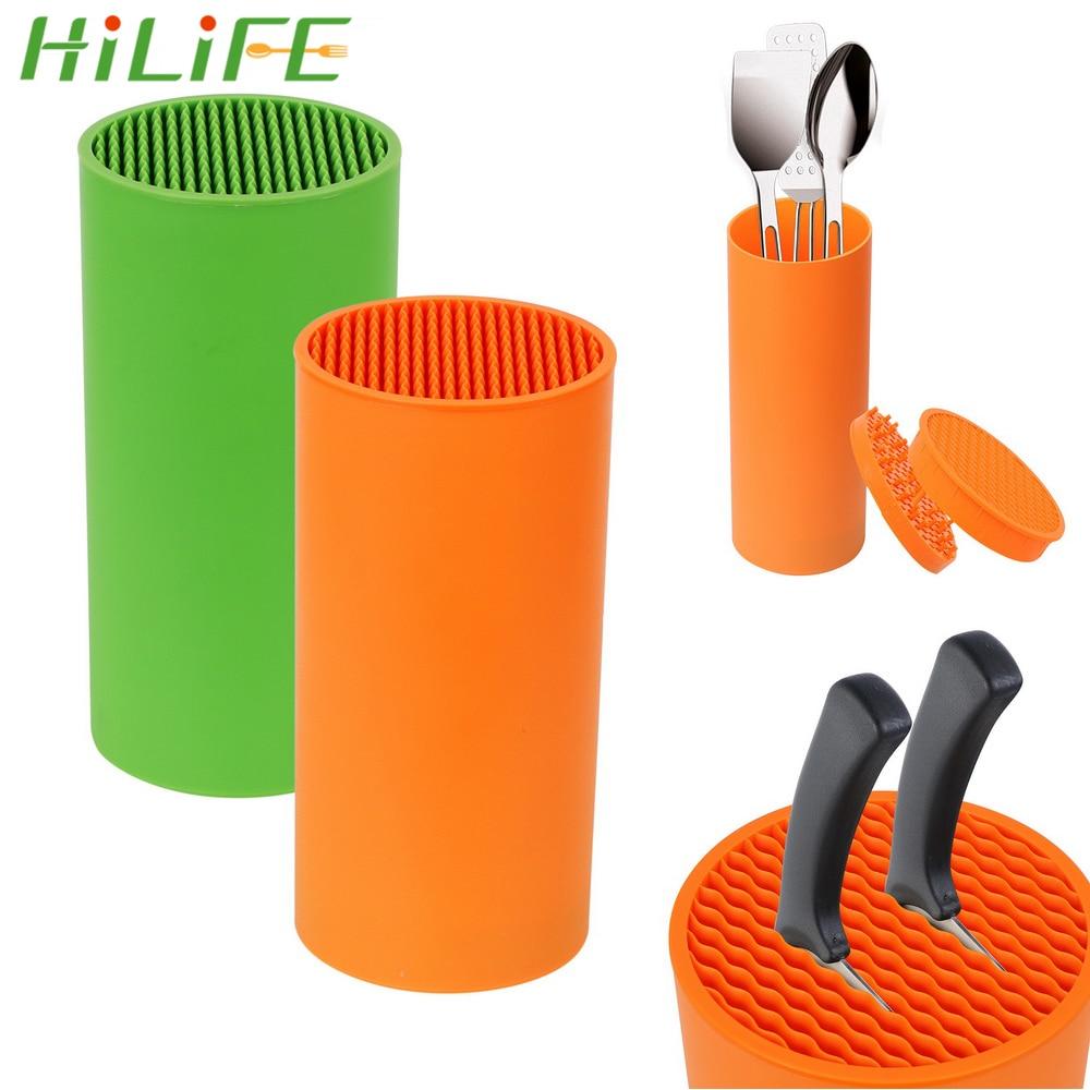 HILIFE Knife Stand Organizer Knife Tool Holder Rack PP Resin Multifunctional Kitchen Bar Knife Storage Block Cooking Tools