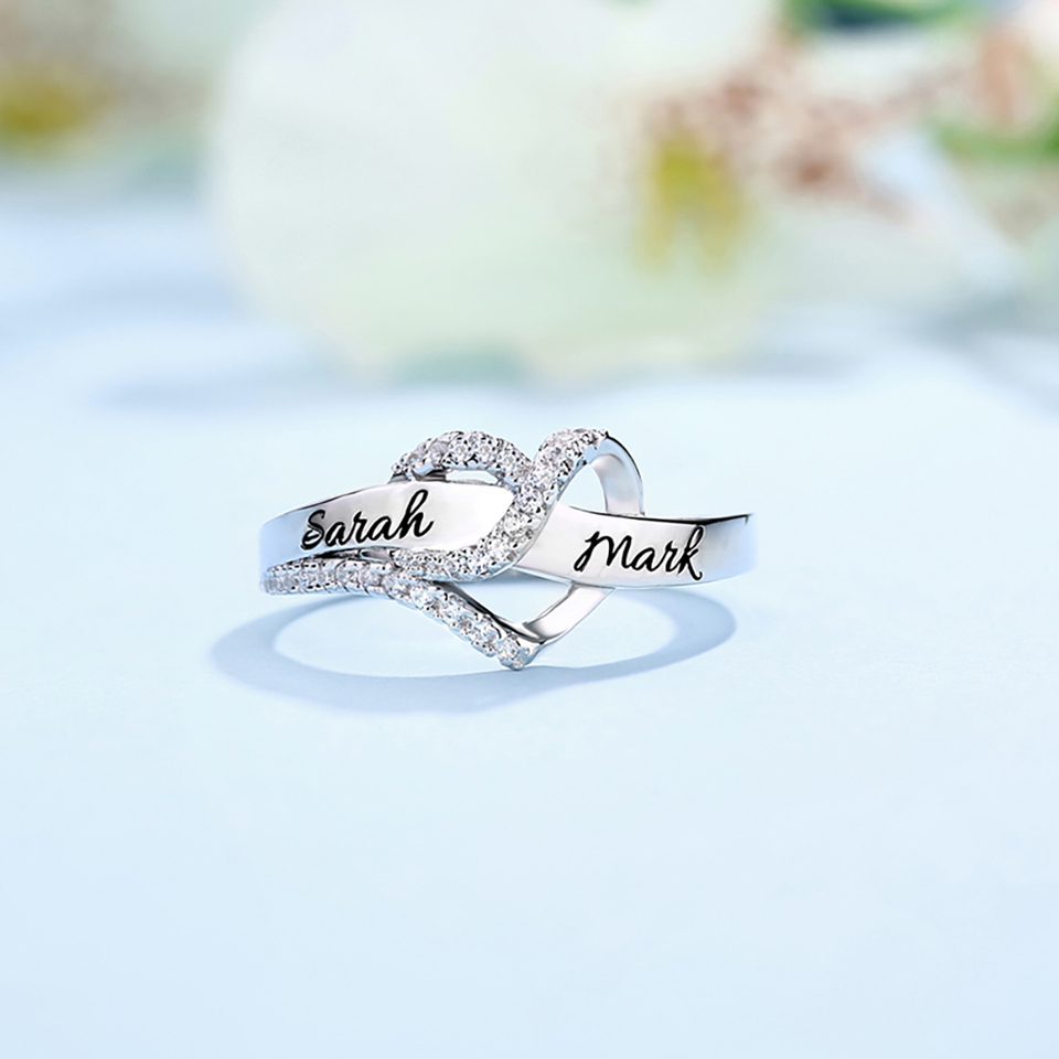 Sweey Wholesale Manufacture Customized 2 Names Heart Cz Wedding