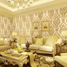 High Quality European Style 3D Wallpaper Damascus Warm Background Non-Woven Papel De Parede Wallcovering For Living Room
