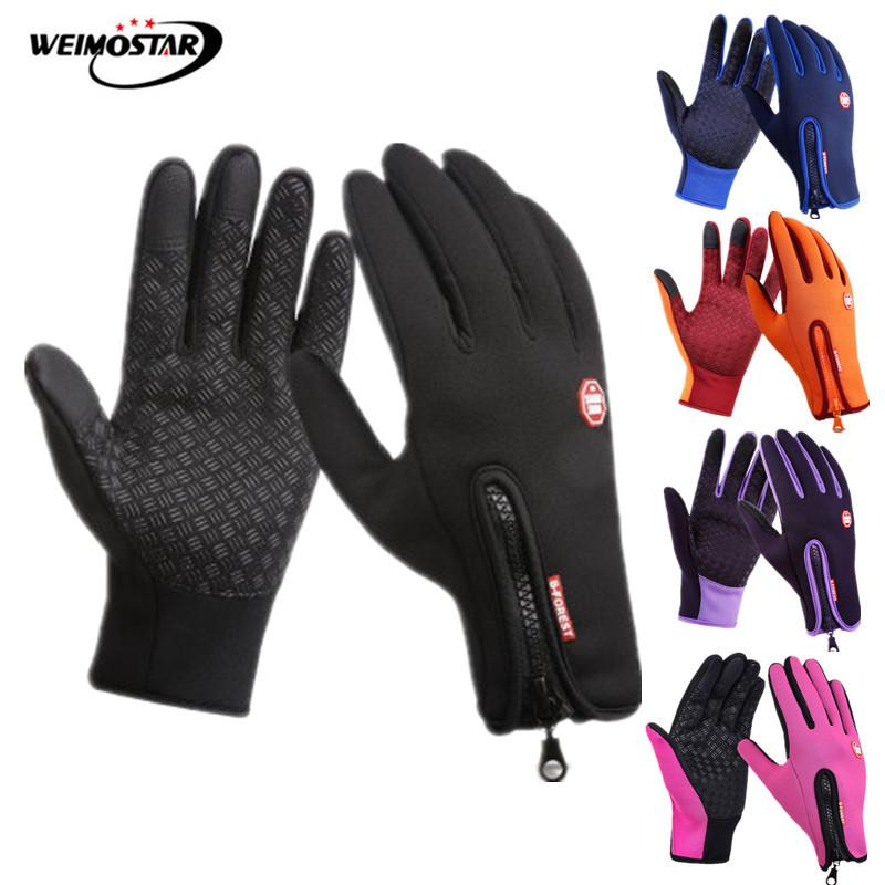 Weimostar Winter Sport Touch Screen Radfahren Handschuhe Volle <font><b>Finger</b></font> Thermische Fleece MTB Bike Handschuhe Winddicht Skifahren Fahrrad Handschuhe image