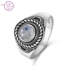 New Products Natural Moonstone Ring Men's and Women's 925 Sterling Silver Vintage Flower Texture Jewelry Ring Round Gem Gift Who natural blue sapphire gem ring natural gemstone ring s925 silver luxurious big flower sun flower women girl gift party jewelry