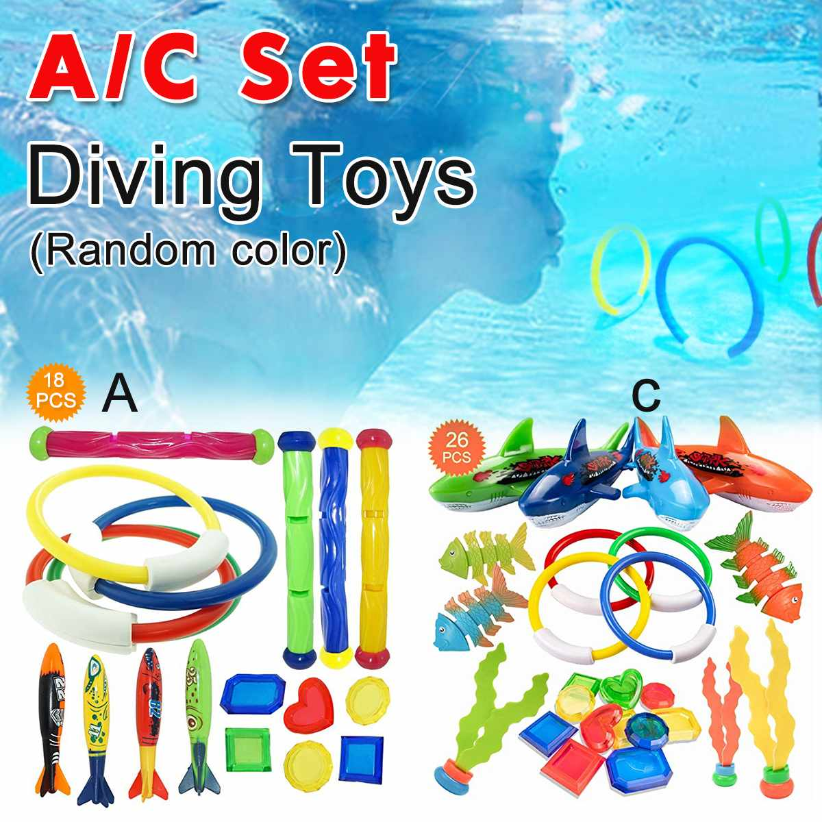 18/26 PCS Summer Playing Swimming Pool Throwing Diving Toys Underwater Rings Diving Circle Set Multicolor Game Beach Toy(China)