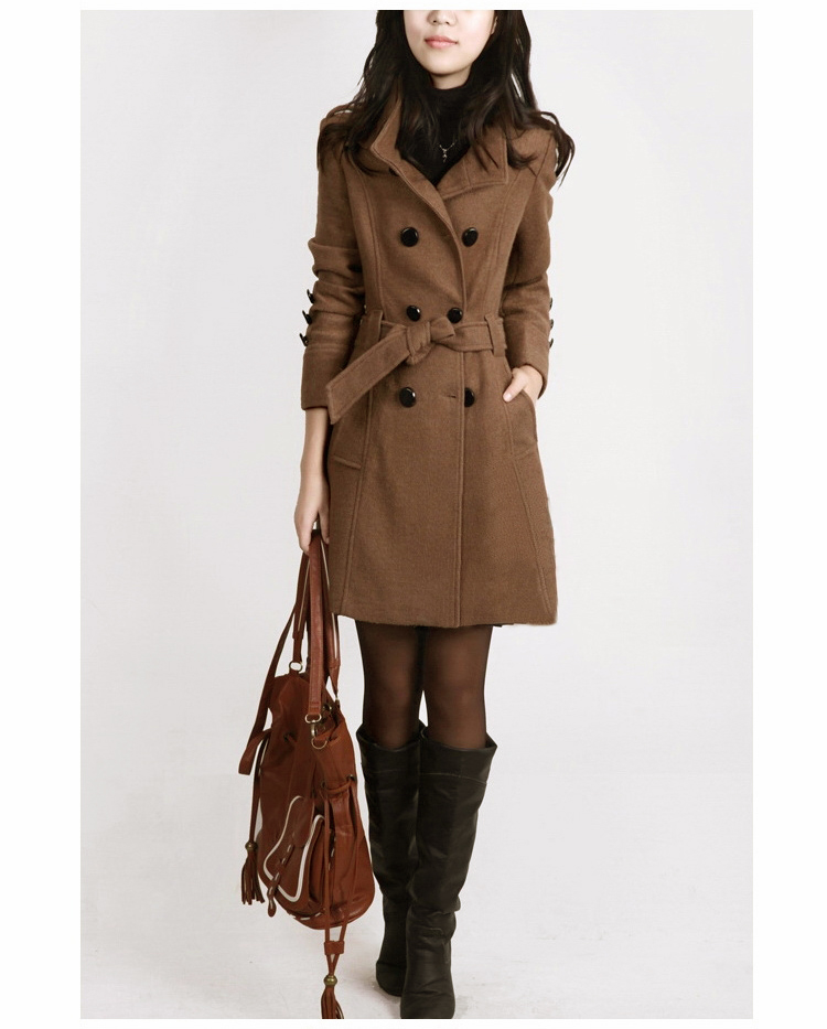 2018 New Women Trench Woolen Coat Winter Slim Double Breasted Overcoat Winter Coats Long Outerwear for Women Plus Size Coat in Wool amp Blends from Women 39 s Clothing