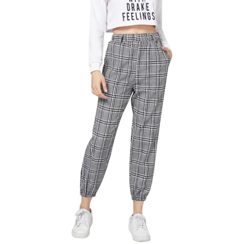 Plaid Knot Front Belte Pants Women Grey Casual Cap