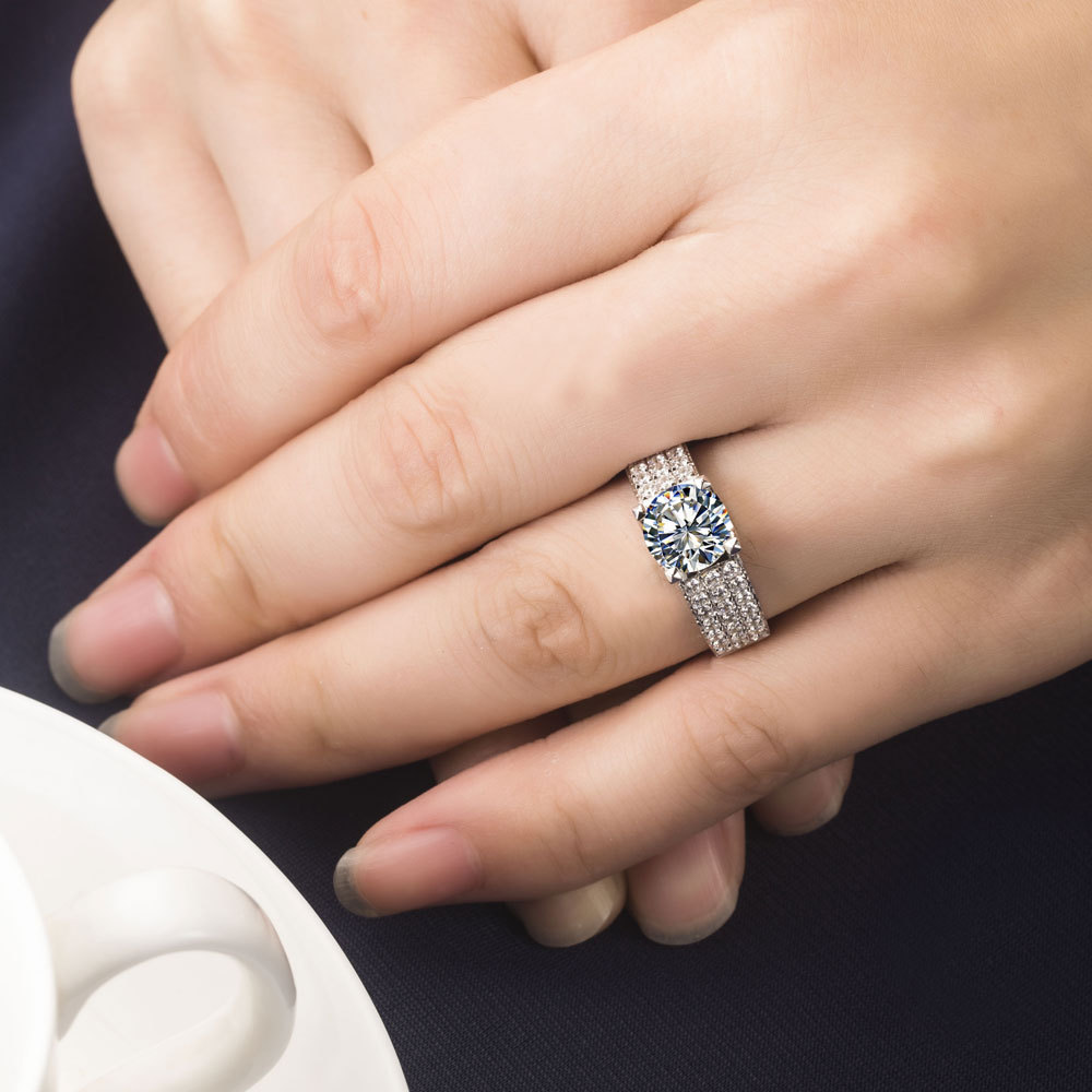 1352ccdd777 2 CT Vintage A OK Quality Female Engagement Ring Solid 18k White ...