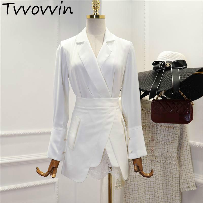 Women Set V Neck Suit Coat High Waist Lace Stitching Skirt 2 Piece Set Women Black