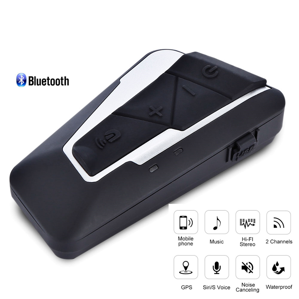 1200M Waterproof Bluetooth 3.0 Intercom For Motorcycle Headset Helmet Interphone For 2 Riders FM Music 15 Hours Working Time