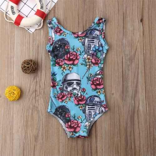 Детский комбинезон «Звездные войны»; синий детский пляжный костюм без рукавов с цветочным рисунком для девочек; купальный костюм; купальник-бикини; купальный костюм