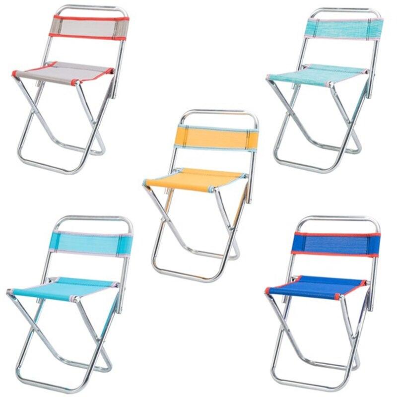 Abgz-cadeira dobrável de aço inoxidável ao ar livre cadeira de malha portátil fezes de pesca dobrável cadeira de viagem de acampamento cor aleatória