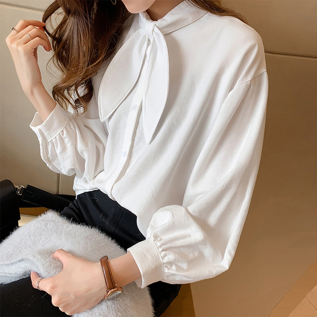 7cda8d12ceb New Women Large Size Solid Color Long Sleeve Blouse With Bow Retro Classic  White Red Bowknot