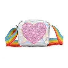Сумка для девочек, детская сумка, сумка-мессенджер на плечо, лазерная Радужная сумка через плечо для детей, милая