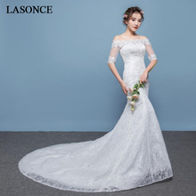 LASONCE Boat Neck Illusion Half Sleeve Mermaid Wedding Dresses Lace Appliques Sweep Train Backless Bridal Gowns