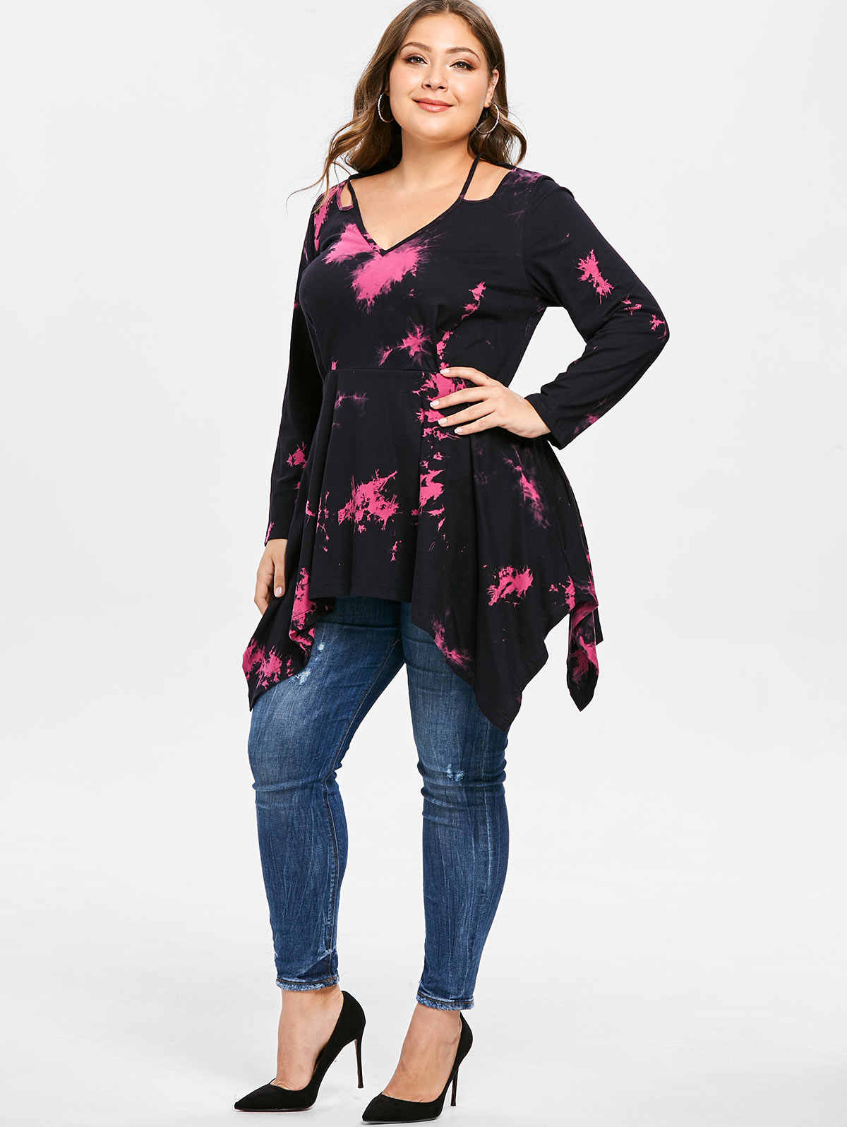 Gamiss Plus Ukuran Wanita T-shirt Jatuh Potongan Tie Dye Saputangan Tunik T Kemeja Kasual Leher V Lengan Panjang Asimetris Tops tees