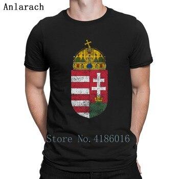 Camiseta de algodón con cuello redondo y letras antiarrugas con símbolo de Hungría de escudo de armas húngaro para hombre 2018 Hiphop