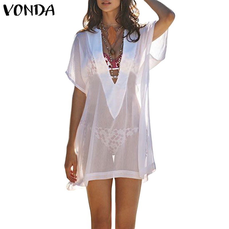 VONDA 2019 летнее платье женское сексуальное v-образный вырез прозрачный пляжный Binkini Cover-Up свободные Vestidos плюс размер белые мини платья халат