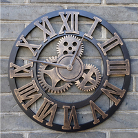 Handmade 3D Retro Wall Clock Vintage Luxury Gear Wooden Saat Wall Clock Roman Numerals Design For Home Living Room Decoration