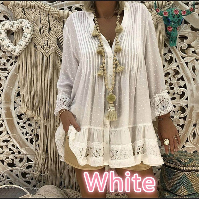 V Neck Loose Shirt  Lace Blouses Summer Clothing 2