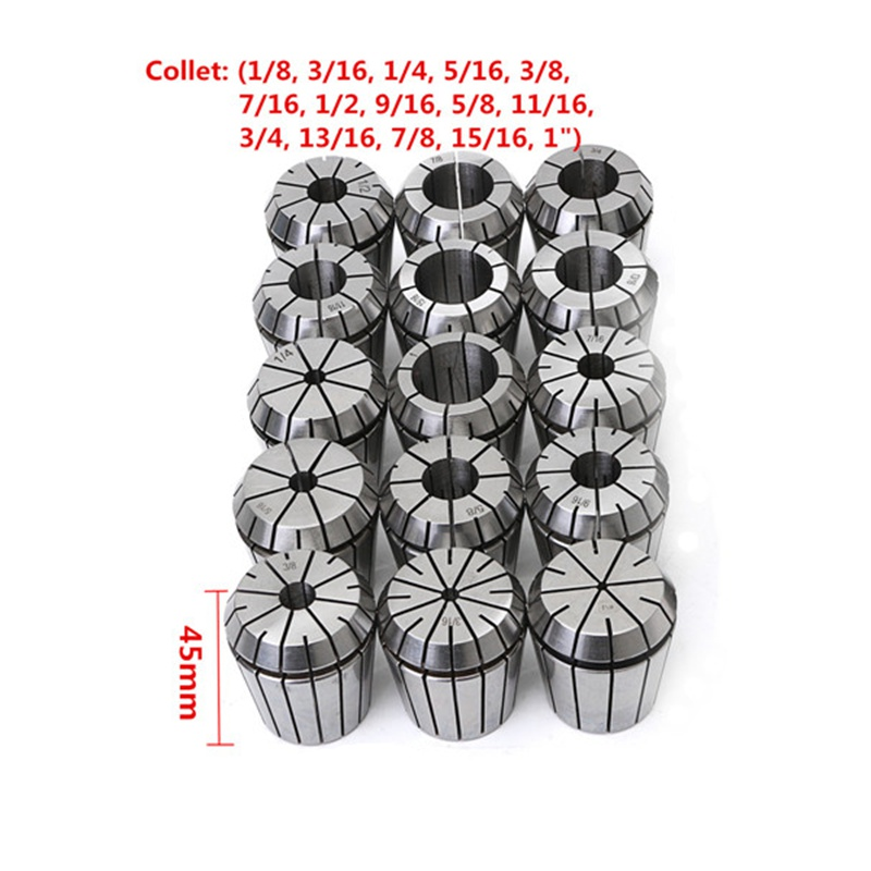 Drillpro 15Pcs 1/8 to 1 Inch ER40 Spring Collet Set for CNC Milling Lathe Tool for Alloy Spring Steel Milling Lathe