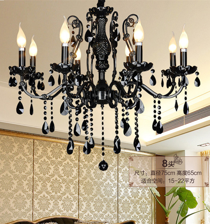 Antique black crystal chandelier led candle lights for kitchen coffee shop Black crystal hanging light led chandelier Lampadario|light paint|lamp light bulb socket|lighted ceramic christmas tree - title=
