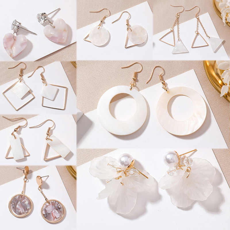 19 Models Drop Earring Asymmetric Korean Circular Geometry Simple 1Pair Handmade Shell Seaside Long Tassel Triangle Flower White