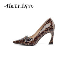 AIKELINYU Novelty Drill Decoration Elegant Lady Pumps Genuine Leather Women Leopard Print High Shoes Classic Office