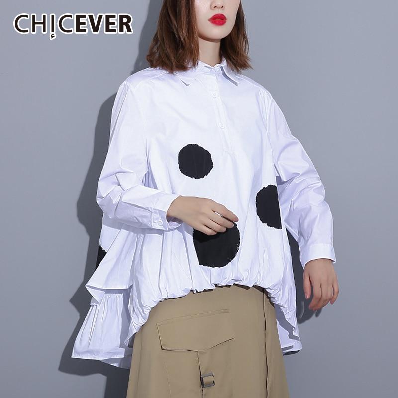 CHICEVER Polka Dot Womens Tops And   Blouses     Shirt   Lapel Long Sleeve Asymmetric Hem Print   Blouse   Tops Female Oversize Autumn New