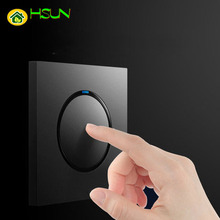 86 Type 1 2 3 4 Gang Way Light Pressure Switch Modern Grey Wall with Led lights Household 16A Socket
