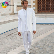 Classic White Men Suits for Wedding Custom Made Groom Tuxedo Vintage Stand Collor Blazers 2Piece Jacket with Pants