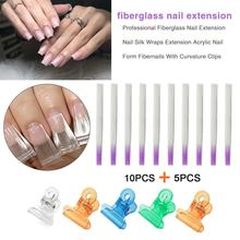 Professional Fiberglass Nail Extension Silk Wraps Acrylic Form Fibernails With Curvature Clips