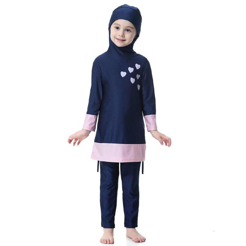 Image 3 - Kids Girl Muslim Swimwear Arab Islam Long Sleeve Two Piece Hoodie SwimsuitChildrens Two-Piece Suits