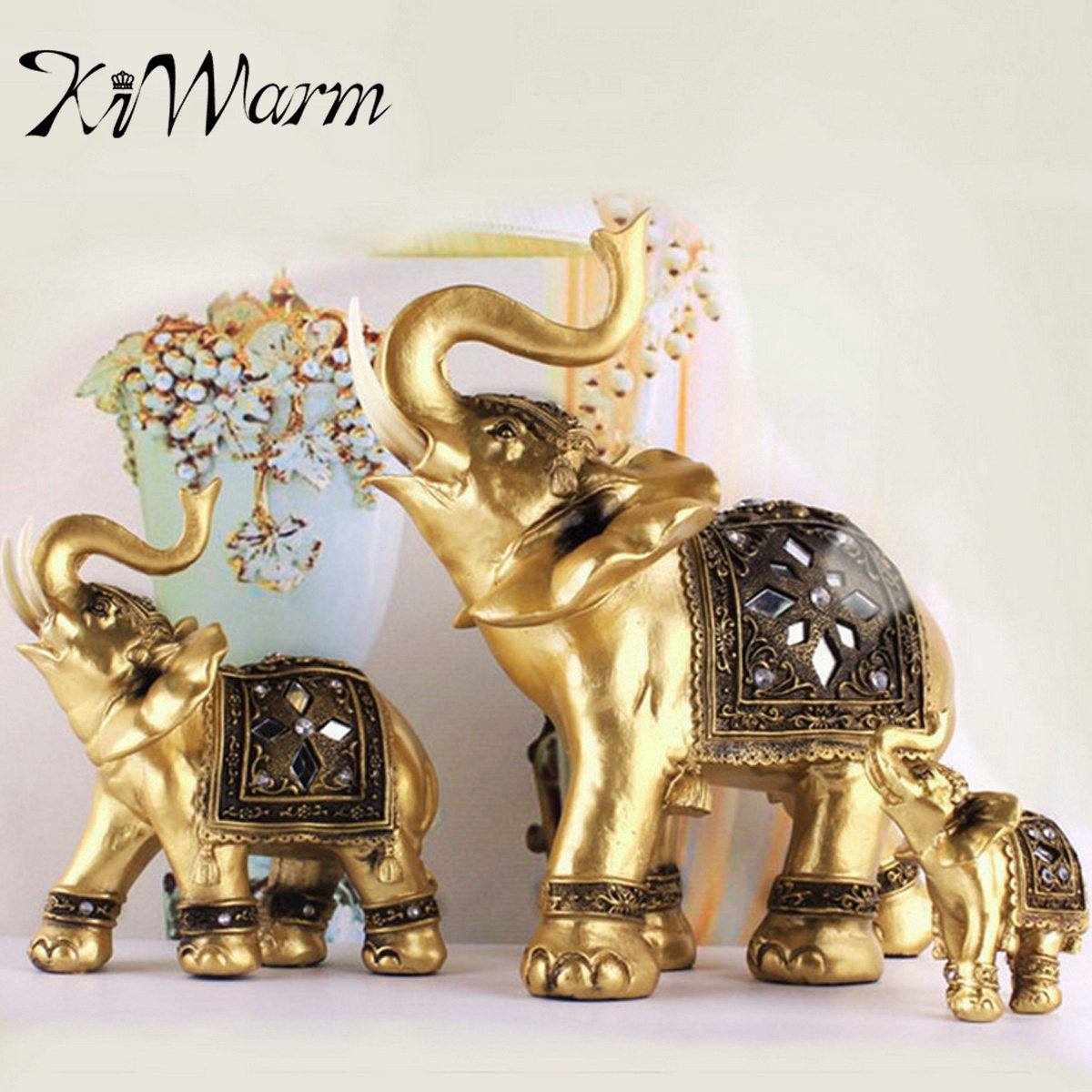 KIWARM 3 Size Feng Shui Elegant Elephant Trunk Statue Lucky Wealth Figurine Crafts Ornaments Gift For Home Office Desktop