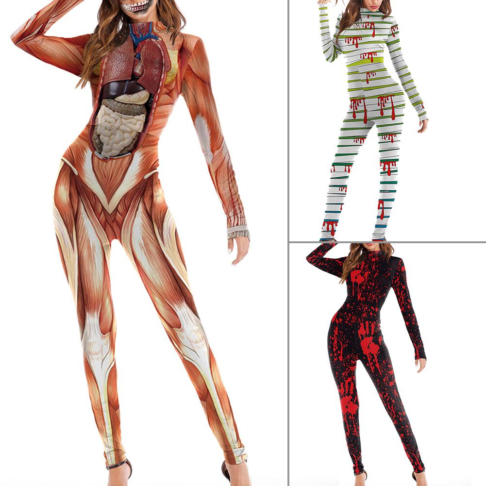 Women Jumpsuit <font><b>Halloween</b></font> Blood Palm Print Muscle Print Role Playing Skinny Jumpsuit Party <font><b>Dress</b></font> <font><b>Sexy</b></font> Jumpsuit Macacao Feminino image