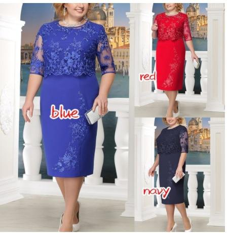 5XL Plus Size Fake Two Dress Women Lace Stitching Evening Party Dresses Fashion Summer Elegant Ladies O-Neck Sheath