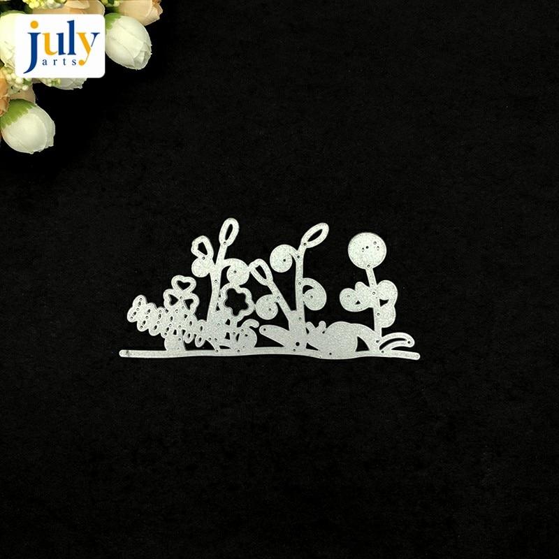 Julyarts Grass Silver Cutting Dies Steel Metal Stencil For Scrapbooking Handmaeking Gift Album Embossing  Card Templates Model