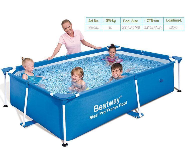56402 BESTWAY 239*150*58cm Fish Pool/Foldable 3-Layer PVC+PE Square Pool/Large Square Metal Frame Swimming Pool For Kids & Adult