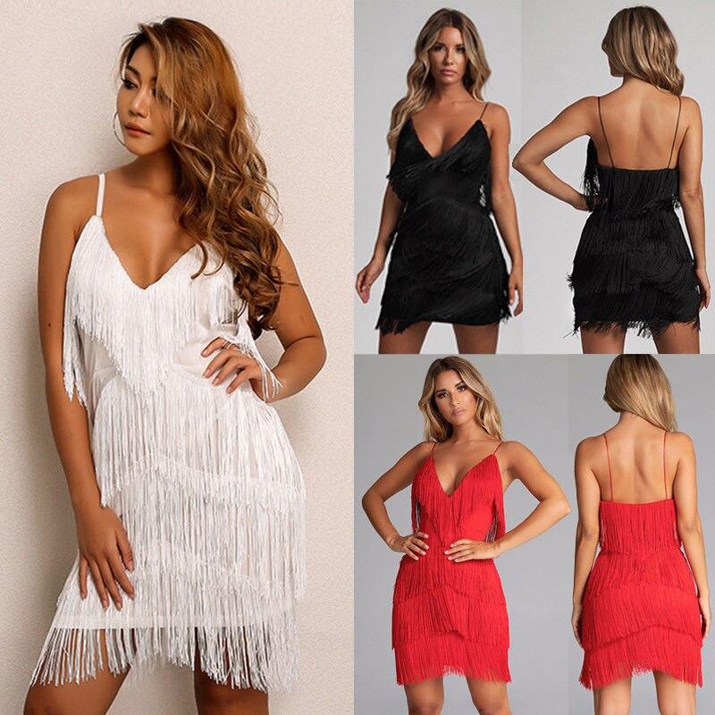 Sexy Summer Women Backless Short Tassels V-neck Sling Dress Evening Party Beach Dresses Sundress