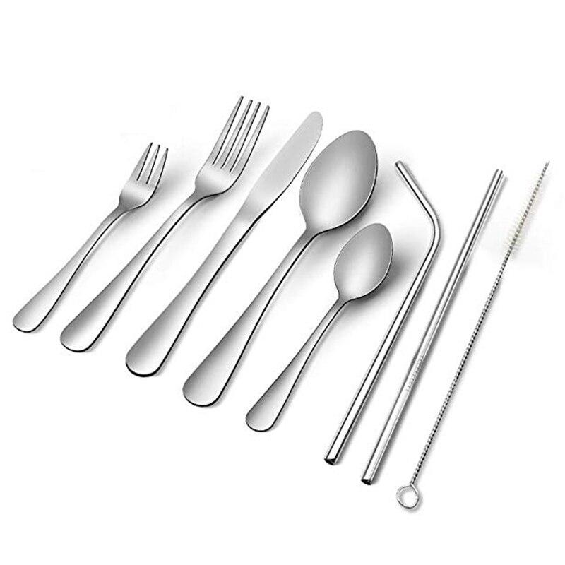 Silverware Set, 23-Piece Flatware Set, Stainless Steel Cutlery Tableware Dinnerware Utensil Set, Knives, Forks, Spoons, Straws