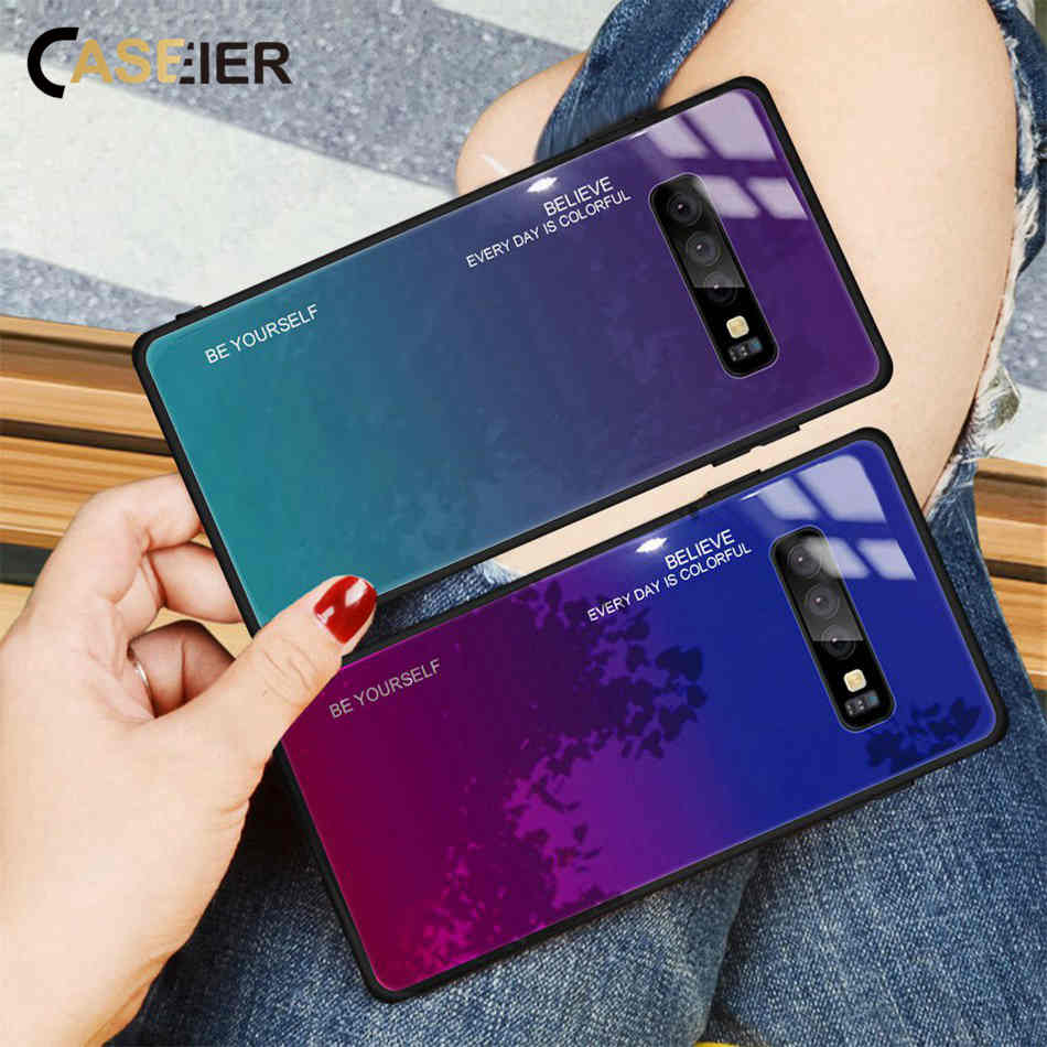 CASEIER Gradient Case For Samsung Galaxy A7 2018 A8 Dual Phone Bag for S8 S9 S10 Plus J4 J6 J7 Note 8 9 Cover Funda