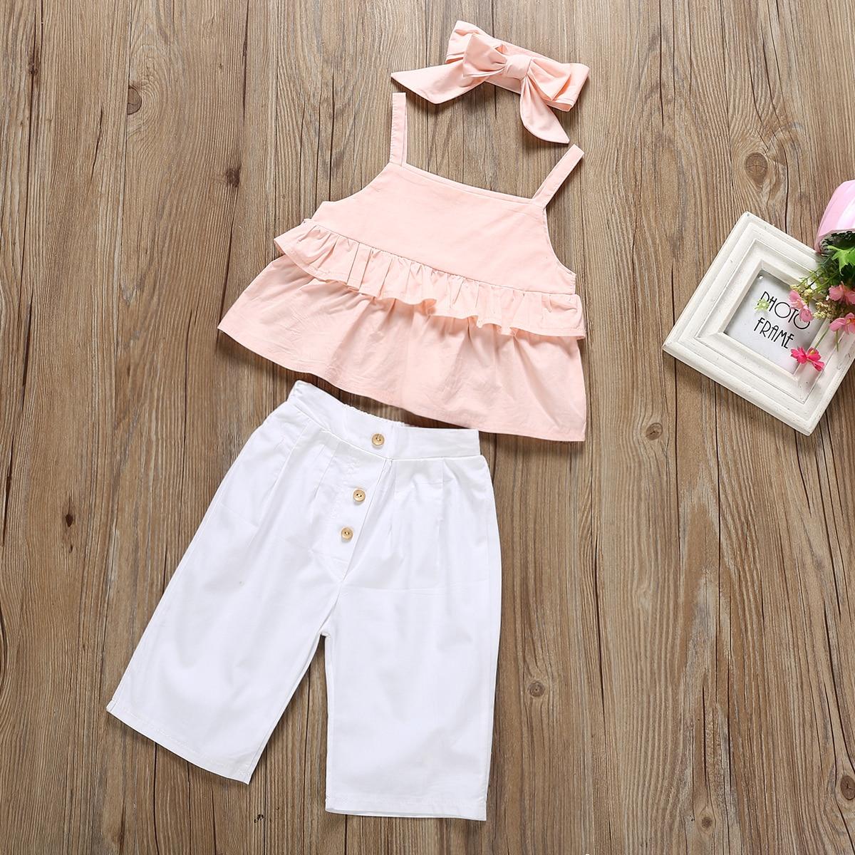Toddler Kids Baby Girl Clothes Headband Sling Tops T-Shirt Dress 3PCS Outfit Set