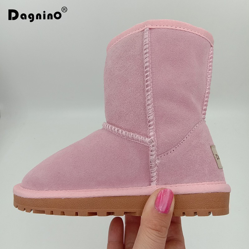 купить Kids Christmas Geanuine Leather Winter Snow Boots For Baby Warm Children Real Cowhide Australian Boots Girls Boys Shoes 25-35 онлайн