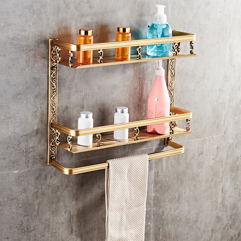 Europe Classic Shelves Double Layer Rack Space Aluminum Wall Bronze Square Bathroom Shelf Storage Rack