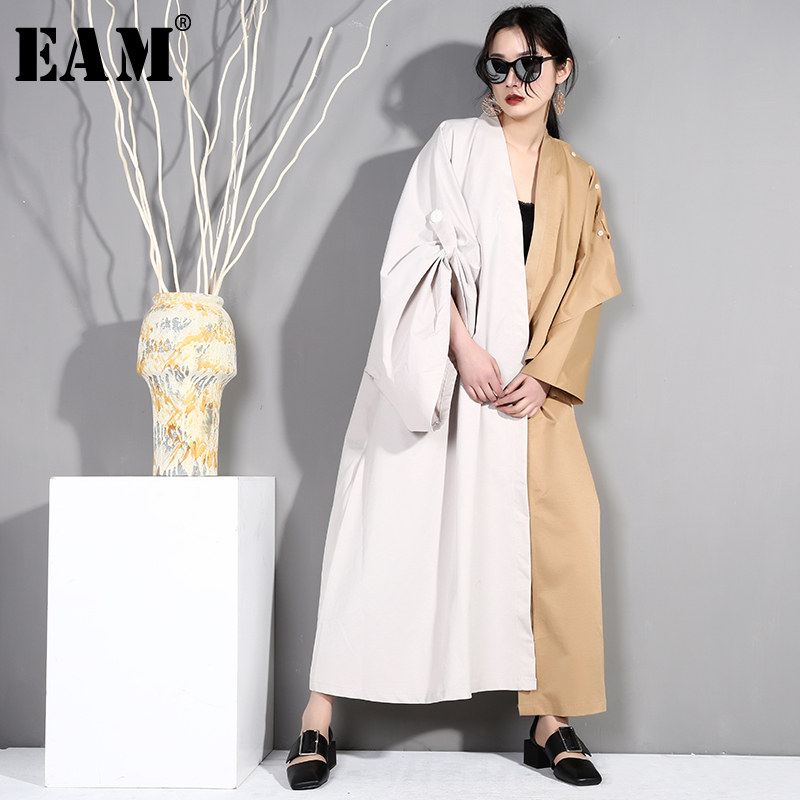 [EAM] 2019 New Spring Summer V-collar Long Sleeve Hti Color Drawstring Big Size Long Windbreaker Women   Trench   Fashion Tide JQ938