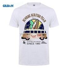 GILDAN 2017 Newest Letter Print Tee Cool Fashion Novelty Style T shirt Surfer Bus Surfings Retro Samba T1 T2 Auto Car
