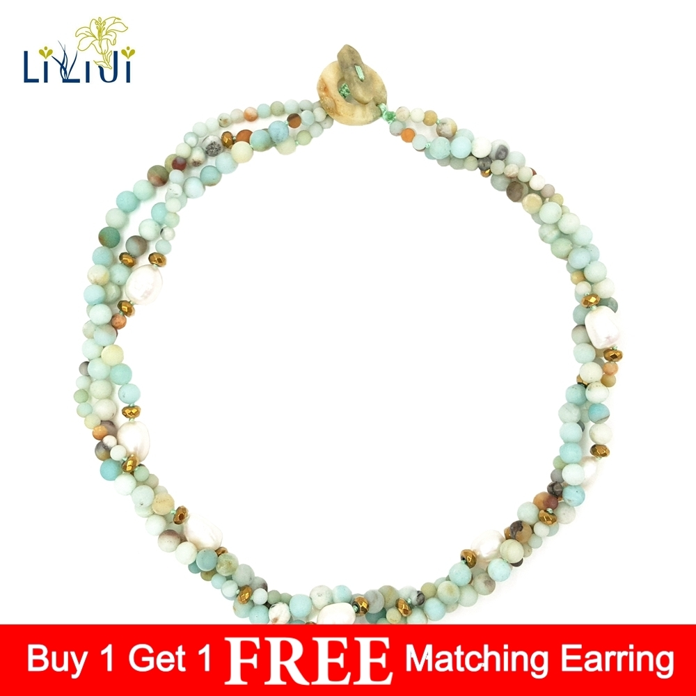 LiiJi UniqueMatte Natural Multi Color Amazonite Freshwater Pearl Hematite 3 Rows Necklace with Stone Toggle Clasp