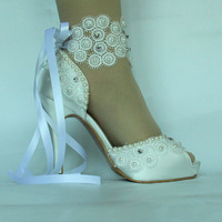 Hot Sell Wedding handmade shoes bridal shoes high heel Satin wedding crystal shoes wedding lace shoes