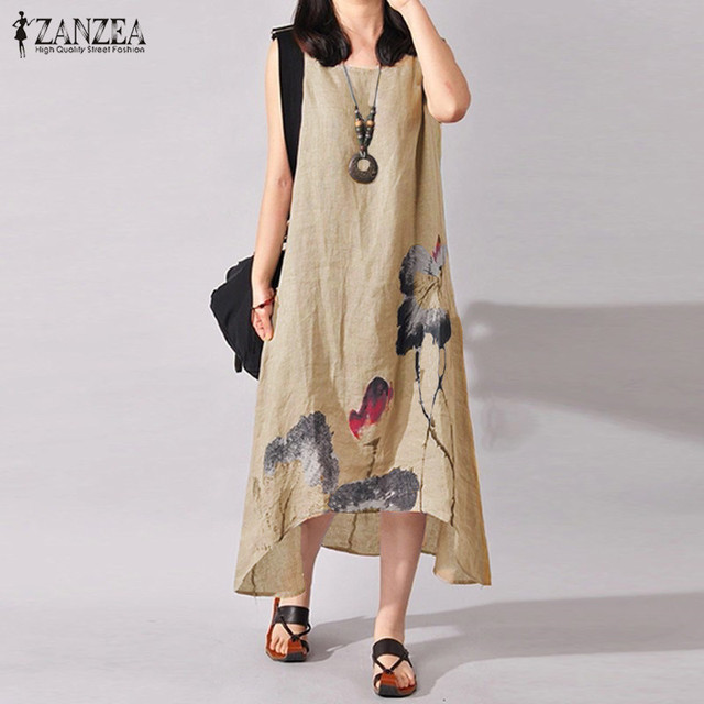 ZANZEA Linen Dress Women Summer Dresses Sleeveless Ink Painting Cotton Vestidos Ladies Mid Calf Vestido Womens Plus Size Dresses 2