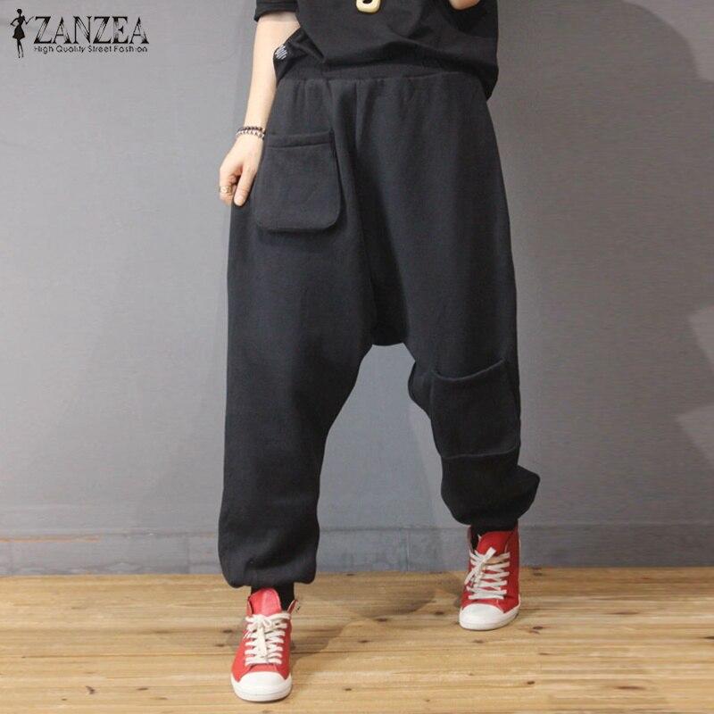 2019 ZANZEA Women Elastic Waist Drop Crotch Turnip Pants Solid Pockets Harem Trousers Female Loose Pants Pantalon Plus Size