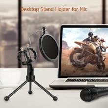 Metal Adjustable Mic Desk Stand Live Radio Recording Microphone Phone Foldable Stand with Windscreen Filter Desktop Holder(China)