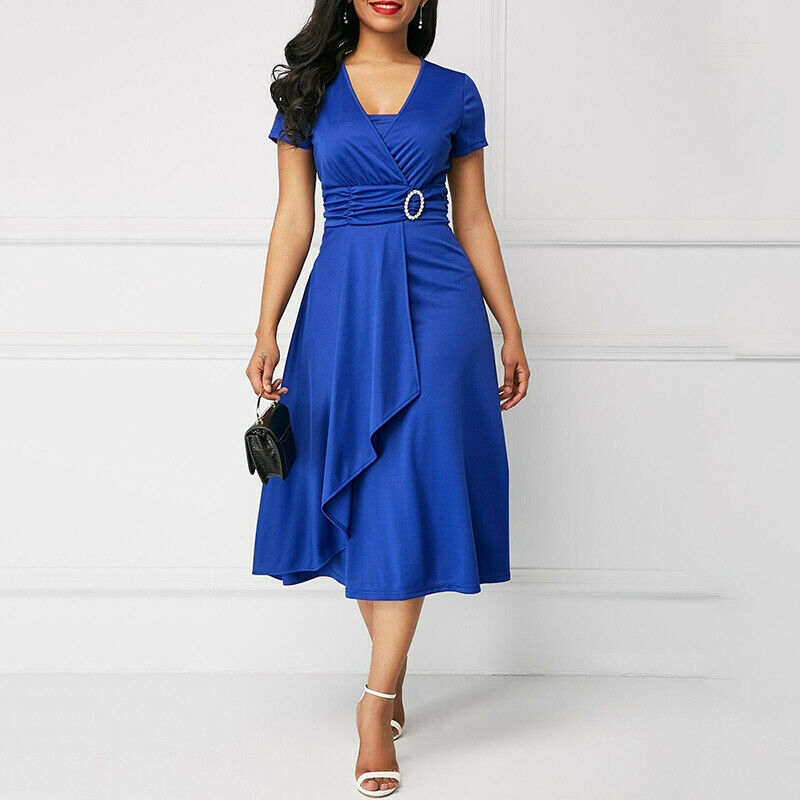 Solid Dresses Women Party Cocktail Elegant V neck Short Sleeve Irregular Hem A line MidLength Dress in Dresses from Women 39 s Clothing