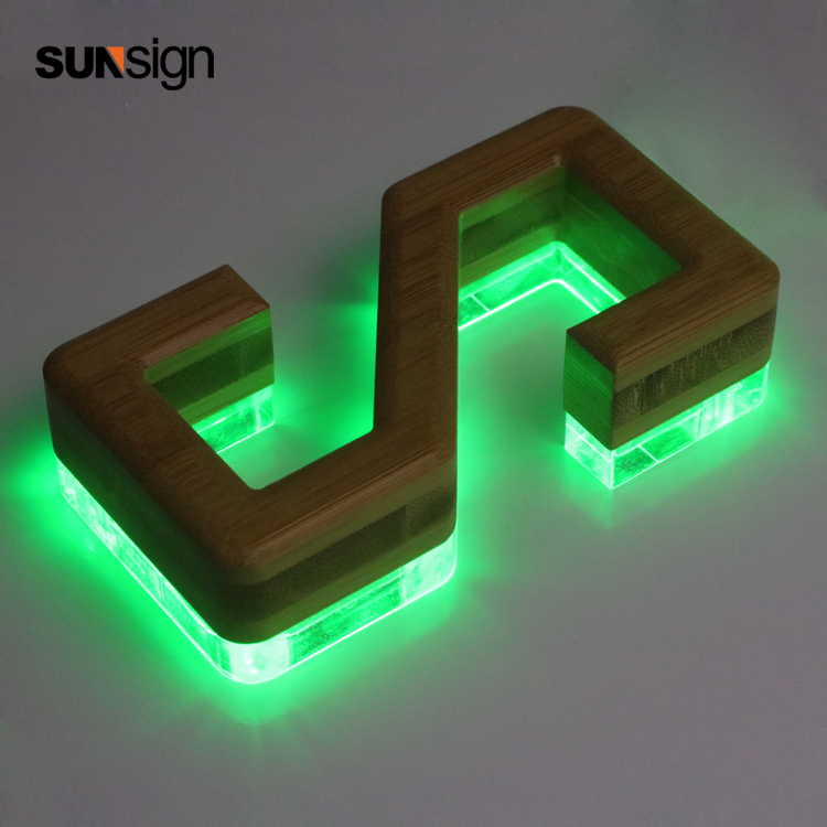 3d Wooden Channel Letter RGB Led Strong Light Back Lit Letter